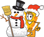 Clip Art Graphic of a Swiss Cheese Wedge Mascot Character Standing by a Snowman