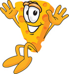 Clip Art Graphic of a Swiss Cheese Wedge Mascot Character Jumping