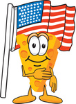 Clip Art Graphic of a Swiss Cheese Wedge Mascot Character Pledging Allegiance to an American Flag
