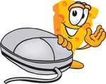 Clip Art Graphic of a Swiss Cheese Wedge Mascot Character Waving and Standing by a Computer Mouse