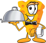 Clip Art Graphic of a Swiss Cheese Wedge Mascot Character Serving a Dinner Platter While Waiting Tables