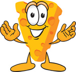 Clip Art Graphic of a Swiss Cheese Wedge Mascot Character With Welcoming Open Arms