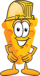 Clip Art Graphic of a Swiss Cheese Wedge Mascot Character Wearing a Yellow Hardhat