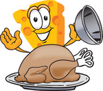 Clip Art Graphic of a Swiss Cheese Wedge Mascot Character Serving a Thanksgiving Turkey on a Platter