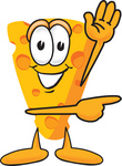 Clip Art Graphic of a Swiss Cheese Wedge Mascot Character Waving and Pointing to the Right