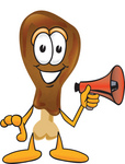 Clip Art Graphic of a Chicken Drumstick Mascot Character Holding a Megaphone