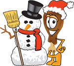 Clip Art Graphic of a Chicken Drumstick Mascot Character With a Snowman on Christmas