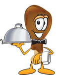 Clip Art Graphic of a Chicken Drumstick Mascot Character Dressed as a Waiter and Holding a Serving Platter