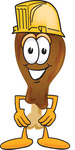 Clip Art Graphic of a Chicken Drumstick Mascot Character Wearing a Hardhat Helmet