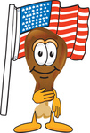 Clip Art Graphic of a Chicken Drumstick Mascot Character Pledging Allegiance to an American Flag