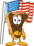 Clip Art Graphic of a Beef Steak Meat Mascot Character Pledging Allegiance to the American Flag