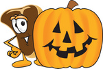 Clip Art Graphic of a Beef Steak Meat Mascot Character Standing by a Halloween Pumpkin