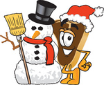 Clip Art Graphic of a Beef Steak Meat Mascot Character Wearing a Santa Hat and Standing With a Snowman