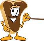 Clip Art Graphic of a Beef Steak Meat Mascot Character Using a Pointer Stick