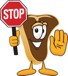Clip Art Graphic of a Beef Steak Meat Mascot Character Holding a Stop Sign
