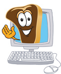 Clip Art Graphic of a Beef Steak Meat Mascot Character Waving From Inside a Computer Screen