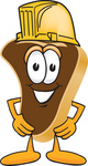 Clip Art Graphic of a Beef Steak Meat Mascot Character Wearing a Yellow Hardhat