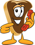 Clip Art Graphic of a Beef Steak Meat Mascot Character Holding and Pointing to a Red Phone