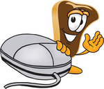 Clip Art Graphic of a Beef Steak Meat Mascot Character Waving and Standing by a Computer Mouse
