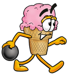 Clip Art Graphic of a Strawberry Ice Cream Cone Cartoon Character Holding a Bowling Ball