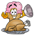 Clip Art Graphic of a Strawberry Ice Cream Cone Cartoon Character Serving a Thanksgiving Turkey on a Platter