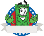 Clip Art Graphic of a Flat Green Dollar Bill Cartoon Character On a Blank Logo Label With a White Banner, Red Background and Stars Over Blue