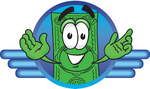 Clip Art Graphic of a Flat Green Dollar Bill Cartoon Character in a Blue Circular Logo With Lines