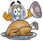 Clip Art Graphic of a Blue Handled Magnifying Glass Cartoon Character Serving a Thanksgiving Turkey on a Platter