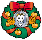 Clip Art Graphic of a Blue Handled Magnifying Glass Cartoon Character in the Center of a Christmas Wreath