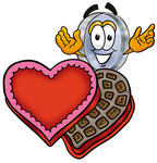 Clip Art Graphic of a Blue Handled Magnifying Glass Cartoon Character With an Open Box of Valentines Day Chocolate Candies