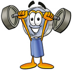Clip Art Graphic of a Blue Handled Magnifying Glass Cartoon Character Holding a Heavy Barbell Above His Head