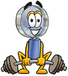 Clip Art Graphic of a Blue Handled Magnifying Glass Cartoon Character Lifting a Heavy Barbell
