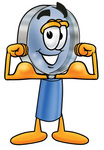 Clip Art Graphic of a Blue Handled Magnifying Glass Cartoon Character Flexing His Arm Muscles