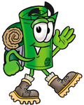 Clip Art Graphic of a Rolled Greenback Dollar Bill Banknote Cartoon Character Hiking and Carrying a Backpack