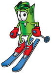 Clip Art Graphic of a Rolled Greenback Dollar Bill Banknote Cartoon Character Skiing Downhill