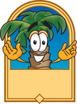 Clip Art Graphic of a Tropical Palm Tree Cartoon Character on a Blank Tan Label Logo