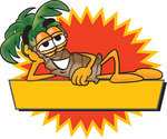 Clip Art Graphic of a Tropical Palm Tree Cartoon Character Reclining Over a Blank Yellow Label With a Burst