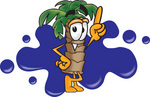 Clip Art Graphic of a Tropical Palm Tree Cartoon Character Pointing Upwards in Front of a Blue Paint Splatter on a Logo