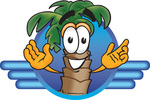 Clip Art Graphic of a Tropical Palm Tree Cartoon Character on a Blue Logo