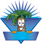 Clip Art Graphic of a Tropical Palm Tree Cartoon Character Over a Blank Blue Label Logo With a Burst