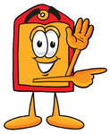 Clip Art Graphic of a Red and Yellow Sales Price Tag Cartoon Character Waving and Pointing to the Right