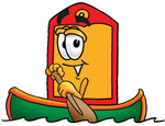 Clip Art Graphic of a Red and Yellow Sales Price Tag Cartoon Character Rowing a Boat