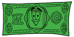 Clip Art Graphic of a Red and Yellow Sales Price Tag Cartoon Character on a Dollar Bill