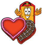 Clip Art Graphic of a Red and Yellow Sales Price Tag Cartoon Character With an Open Box of Valentines Day Chocolate Candies