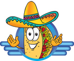 Clip Art Graphic of a Crunchy Hard Taco Character Wearing a Sombrero on a Blue Logo
