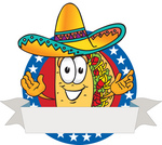 Clip Art Graphic of a Crunchy Hard Taco Character Wearing a Sombrero Over a Blank White Banner With a Red Background and Stars Over Blue on a Logo