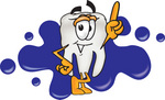 Clip Art Graphic of a Human Molar Tooth Character Pointing Upwards While Standing in Front of a Blue Paint Splatter on a Logo
