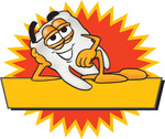 Clip Art Graphic of a Human Molar Tooth Character Reclining Over a Yellow Label With a Burst