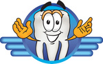 Clip Art Graphic of a Human Molar Tooth Character on a Blue Logo