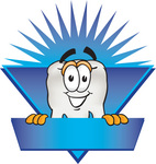 Clip Art Graphic of a Human Molar Tooth Character Over a Blank Blue Label With a Burst